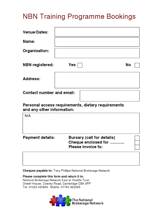 NBN Training Booking Form 2015